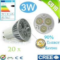 Factory directly sale 20pcs/lot CREE Bulb led bulb GU10 3w 3x1W 110V 220V Dimmable led Light led lamps spotlight free shipping