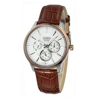 Top Quality CASIO  Genuine Leather Strap Wristwatch for man BEM-302L-7A