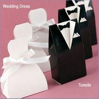 200pcs/lot  100 White Bride and 100 Black Groom Wedding Favours Boxes/Guest Gifts/Table Decoration Free Shipping