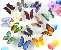 Special Offer!!! Energy-saving LED butterfly night lights colorful festival decoration small magnets crafts 48pcs DHL Free ship!