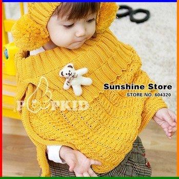 Sunshine store #2C2597  5 pcs/lot baby scarf Kids knitted cloak with bear children shawl bear girls winter Sweater Coat CPAM
