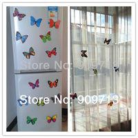 Hot !!12cm large beautiful simulation fridge magnets butterflies home decoration artificial crafts 50pcs color mix Free Ship