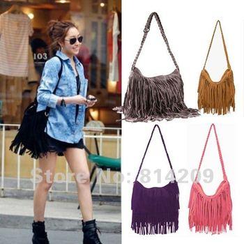 Hot! Free Shipping Women's Girl's Tassel Fringed Shoulder Bag Cross Body Bag Messenger 5 COLOR BG-009