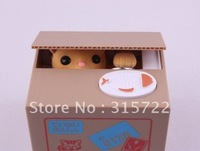 Automated cat steal coin piggy bank,kitty saving money box,coin bank,money bank, kids gift,novelty toys G-001