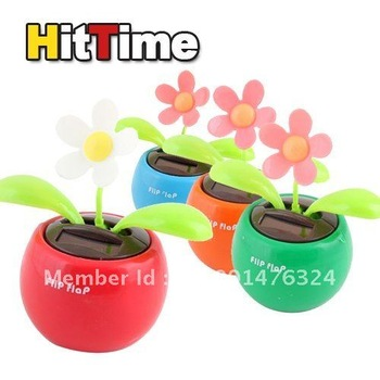 Solar Powered Swing Solar Flower,Magic Cute Flip Flap , Plant Swing Solar Toy Free Shipping  4pcs/lot