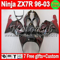 On sale+7gifts Red flames For KAWASAKI NINJA ZX7R 96-03 ZX-7R ZX 7R 97 98 99 00 01 02 03 1997 1998 1999 2003 red black Fairing
