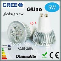 Factory directly sale 10pcs/lot CREE Bulb led bulb GU10 5w 5x1W 110V 220V Dimmable led Light led lamps spotlight free shipping
