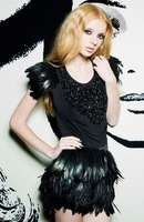 35cm long black rooster feather mini skirt, double layer fabric lined, free shipping # SK002 121001
