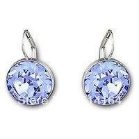Wholesale Austrian Crystal Bella Light Sapphire Pierced Earrings Free Shipping