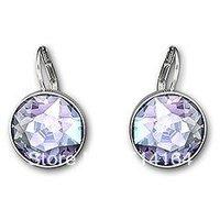 Wholesale Austrian Crystal Bella Tanzanite Pierced Earrings Free Shipping