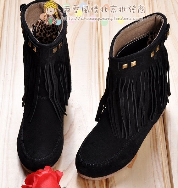 hot style, now fashion summer cowhide tassel boots, flat heel boots ,nubuck leather boots,free shipping(China (Mainland))
