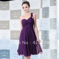 NEW Fashion One Shoulder Flowers Purple Padded Ruffles Cocktail Dress,short design tube top dress flower sexy formal dress