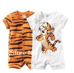 free shipping retail boy short sleeve romper baby cotton bodysuits Ronny Turiaf design jumpsuits cartoon tiger bodysuits(China (Mainland))