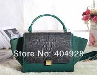 3342 W30H25D18CM  deep green  wholesale and retail 2013 new fashion bag women smile face handbag  original leather top quality