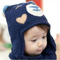 Hat wholesale three-dimensional cartoon bear children knitted cap baby earmuffs hat baby knit cap+Free shipping