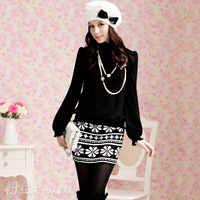 2012 autumn all-match black-and-white knitted short skirt cheap  winter skits SIZE S