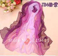 Free shipping, Summer silk scarfs long design female hand painting gradual change chiffon silk scarf(Min order is 5usd)