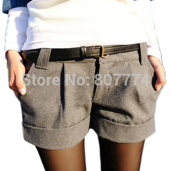Size S-XXL 2015 Spring Winter Women's Turn-Up Straight Boot Cut Plus Large Casual Woolen Shorts With Belt Black,Grey 2004