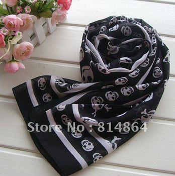 free shippin  Skeleton head scarf mysterious black fashion scarf