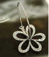 Fashion Hot Sale New Arrival Cute Hollow Shiny Rhinestone Flower Earring E261