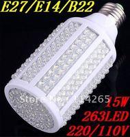 B22 E27 E14 263 LED 15W Cold/warm White Energy Saving Corn Light Bulb 1500LM 230V 220V free shipping