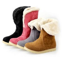 large size 34-43 Hot 2013 New sexy fur inside knight ladies fashion flat ankle boots for women and women's winter shoes #Y10247F