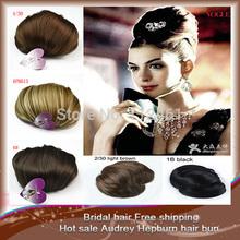 2014 new style 1pcs hair bun women/lady/girl Q9 Audrey Hepburn hair bun chignon hair good quality  for free shipping(China (Mainland))