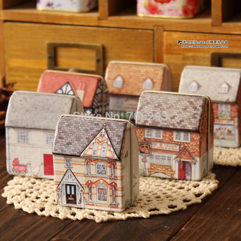 Free shipping mini europe style small house tin box relief stereo small tin kit storage box 12pcs/lot(China (Mainland))