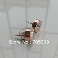 Free shipping 14K Gold Plated Titanium steel Stud Earring  Real factory price wholesale JE107