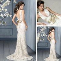 2013 Sexy Deep V Neck Backless Mermaid Bridal Wedding Dresses Gown, Size 2 4 6 8 10 12 14 16++ Style: ZGR-004