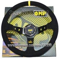 OMP Racing Steering Wheel Yellow Box Car Steering Wheel Suede Material 350mm