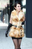 Luxury Ladies' Natural Raccoon Fur Vest Waistcoat with Belt Female Gilet Winter Women Fur Outerwear Coats VK0313