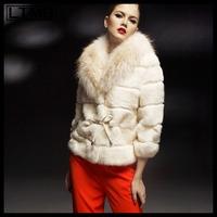 LTMB Women rex rabbit fur coat short   turn down fox fur collar three quarter sleeve striped design new fashion 2014
