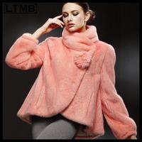 LTMB Women mink fur coat short style mandarin collar full sleeve pink color skirt hem new fashion winter  2014
