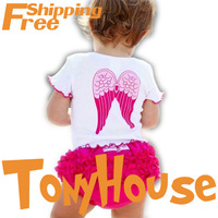 New Fashion Design Baby Girl's Pink Short-sleeve Angel Wings T-shirt and Shorts 2PC Sets Clothes Suit