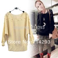 Fashion Women's Long Sleeve Pearl Knit Sweater Jacket Coat Black, Apricot Free Shipping7192