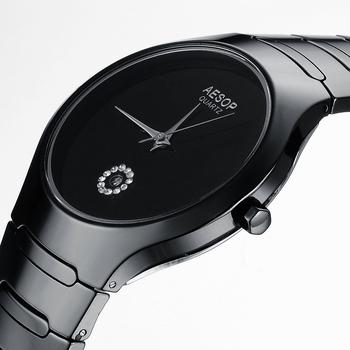 AESOP Famous Brand Pure Ceramic Quartz Watch Sapphire Man Watches Pure White/Black Women Dress Rhinestone Watches Steel Case9901