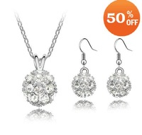 1036S  Wholesale White Gold Plated Ball pendant rhinestone Crystal Jewelry Sets necklace earrings fashion crystal jewelry