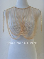 New arrival ! gold metal body chain jewelry multilayer tassel choker necklace Exaggerated bib jewel christmas gift free ship