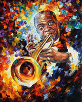 100% Hand-painted Quality Palette Knife canvas recreation oil painting Louis Armstrong