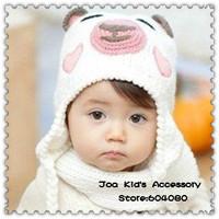 Fashion Cartoon Animal Bear Knitting Ear Protection Baby Hat,Winter Warm Cotton Children Beanie Cap,TM038+Free Shipping