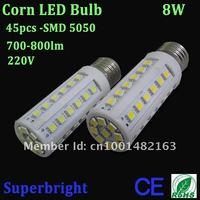 4pcs/lot RoHS CE led bulb 8W corn led bulb light white  45leds SMD 5050 led 800lm 220V warranty 2 years Free shipping