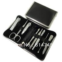5 sets Manicure set black soft leather piece set finger scissors set nail art set 137 black chrome