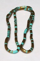 "Atique gold/turquoise mixed flexible snake necklace, diametaer 6mm, length 90cm(35""), free shipping"