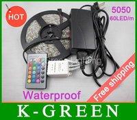 high quality RGB led strip waterproof 5m 5050SMD 300 LEDs/Roll +24 keys IR Remote+12V 6A Power Adapter Free Shipping
