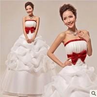 Big red bow bride sweet princess wedding dress; Aiweiyi