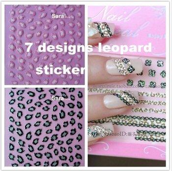 7 designs Nail Art Stickers Decals in Glitter LEOPARD ANIMAL PRINT popular design 7 sets/Lot XF198-204