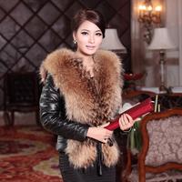 New arrival Lady's Genuine Raccoon Fur Sheepskin Down Coat Jacket 3 Colors M-5XL Plus Size wholesale and retail OEM FS9203110