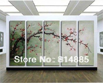The Plum Blossom, Huge 5 Panels Handmade Modern Flower  Oil Painting on Canvas  Wall Art  ,Top Home Decoration  JYJLV208