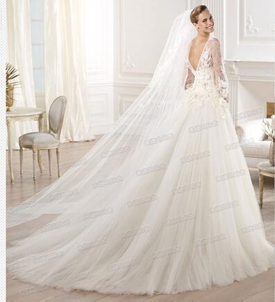 mode spitze volle Perspektive blumen Royal train brautkleider 2014 perlen vestidos de casamento 3860 gp